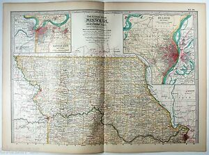 Original 1902 Map of Northern Missouri by The Century Company