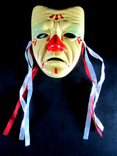 VIntage Ceramic Yellow Clown Wall Mask Sad Crying Ribbons