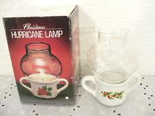"Christmas Hurricane Lamp w/ original box and 4-1/2"" tall"