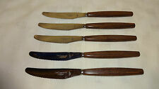 Vintage/Retro Set Of 5 Wood Effect Handled Dessert/Side Knives - Smith Seymour