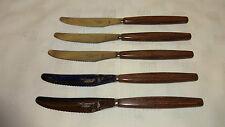 Vintage/Rétro lot de 5 effet bois Handled Dessert/côté couteaux-Smith Seymour