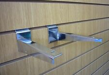 Slatwall Timber Shelf Bracket Chrome 300mm SOLD IN PAIRS