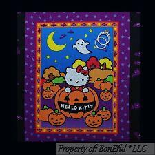 BonEful Fabric Cotton Quilt Block HELLO KITTY Halloween Scenic Applique Pumpkin