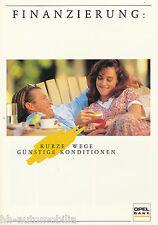 Opel Finanzierung Prospekt 1991 Autoprospekt Broschüre brochure broschyr Auto