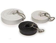 3 Pack Sink Plugs Various Colour Plug Holes Chain White Black Bathroom Bath