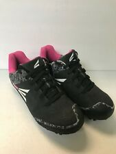 GIRL'S SOFTBALL CLEATS, EASTON, BLACK AND PINK, SIZE  6Y