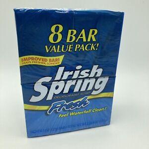 Irish Spring Bath Deodorant Soap Fresh Waterfall Clean Blue 8 Bars 4.5 oz Box