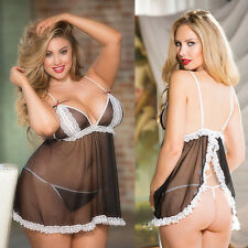 Women Plus Size G-string Underwear Lingerie Babydoll Nightwear Dress Sleepwear