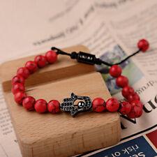 Charm Black Hamsa Fatima Hand Evil Eye Beaded Red Turquoise Adjust Bracelets