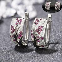 Women Red Ruby Stud Ear Flower Blossom 925 Silver Earrings Plum Jewelry Hoop
