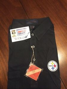 NEW Adult Large Antigua Pittsburgh Steelers Black Button Down Golf Shirt Polo