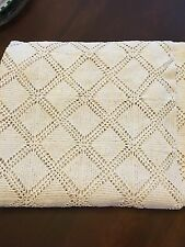 Vintage Handcrafted Crochet Table Cloth Bed Spread 68 X 60 Inches