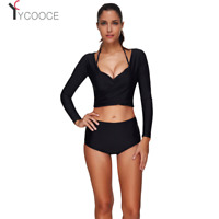 3PCS Women High Waist Swimwear Bikini Push Up Swimsuit Bathing Suit Long Sleeve