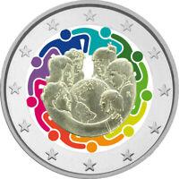 2 Euro Gedenkmünze Vatikan 2015 coloriert mit Farbe/ Farbmünze Weltfamilientag