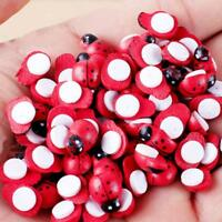 100PCS Mixed Ladybird Mini 9x14mm Self Adhesive Wooden Ladybugs Craft Card Wood