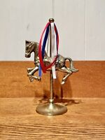 """VINTAGE 8"""" SOLID BRASS CAROUSEL HORSE Red White Blue 4th Of July"""