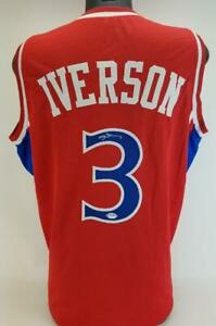 Allen Iverson Signed Philadelphia 76ers Custom Autographed Jersey PSA COA