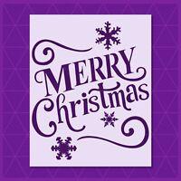Let it Snow stencil Reusable /& Durable Merry Christmas Snowflake Santa Claus