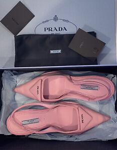 $950 Prada Pointy-Toe Slingback Pump Calzature Donna Women's Pink 37.5