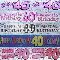 40th GIANT BIRTHDAY BANNERS - MULTI COLOURED - PARTY DECORATIONS