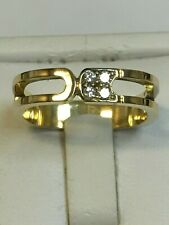 Unusual 18 Carat Yellow Gold GENTS DIAMOND SET BAND Ring