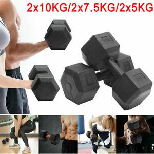 2x5kg/7.5kg/10kg Hex Dumbbells Set Durable Dumbbell Gym Workout Fitness Exercise