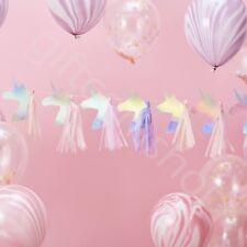 Iridescent Unicorn Tassel Bunting Garland Girls Childrens Party Decoration -1.5m