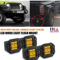 4X 5in Flush Mount Amber LED Work Light Bar Spot Beam Pod Fog Offroad 4WD SUV US