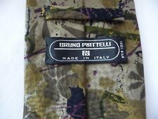 """BRUNO PIATELLI Tie Silk Made in ITALY Olive Green Woven ,Nature Muted 4"""" Wide"""