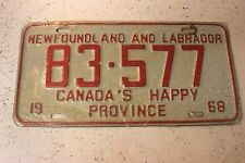 Vintage 1968 CANADA'S HAPPY PROVINCE License Plate 83.577 Rare Original Tag
