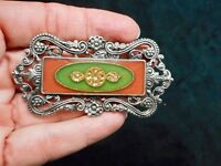 """Authentic Vintage """"1928 Jewelry"""" Antiqued Silver Tone Victorian Revival Brooch"""
