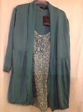 BNWT DEBENHAMS CASUAL COLLECTION Turquoise  Blouse & Cardigan Set -18 RRP £35.00