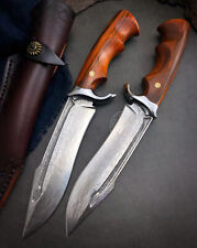 DAMASCUS BOWIE VG10 HUNTING KNIFE SURVIVAL ART KNIFE COMBAT FIXED BLADE SHEATH
