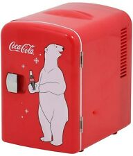Red Mini Refrigerator, Holds Six 12 oz. Cans Coca Cola Cooler, Compact Fridge