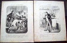 1850 LOTTO DI 2 INCISIONI CON SCENETTE FAMILIARI E IRONICHE