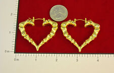"MADE IN USA - Gold Plated ~2"" x 1.3/4"" Heart Bamboo Hoop Earrings"