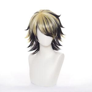 Tokyo Revengers Kazutora Hanemiya Wig Black Gold Short Hair Cosplay Costume Wigs