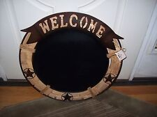 """New listing Large Rustic Metal Wood Western Welcome Chalkboard Sign 23.5"""""""