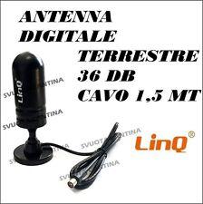 ANTENNA DIGITALE TERRESTRE VHF UHF DVB-T CAVO DA 1,5 LINQ FREQUENZA 36DB AMPLIF