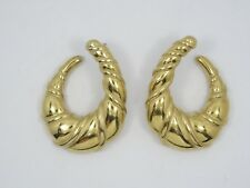 "70's YSL YVES SAINT LAURENT GOLDEN RUNWAY COUTURE EARRINGS ~ 1.5"""