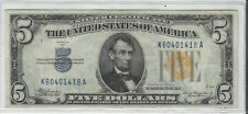 1934-A SERIES  $5 SILVER CERT.~~WWII~~YELLOW SEAL NORTH AFRICA~~CRISP AU