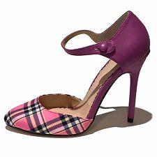 Women's Purple, Pink, Black, White Plaid Stilettos Heels Shoes Size US 6.5 M