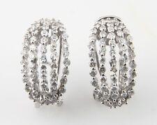 14k White Gold Ladies Diamond Earrings Omega Backs TDW = 0.85 ct Retail =