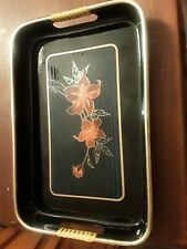 """Small Black Plastic Decorative Tray Gold Rim Flowers Floral Red 10.5"""" & 7"""" wide"""