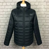 UNDER ARMOUR MENS UK L BLACK INSULATED WINTER HOODED JACKET COAT RRP £115 CS