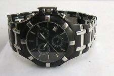 Geneva Mens Date Black Finish Bracelet Swiss Quartz Chronograph Watch R1356M-1