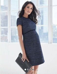 Serephine Navy Blue Boucle Maternity Shift Dress
