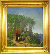 UNSIGNED! COAST LANDSCAPE WITH 2 CHILDREN AND THE PRIEST.