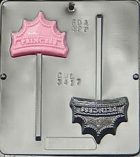 FREE SHIP NEW 2 Cav PRINCESS CROWN Chocolate Candy Fondant Plaster Lolly Mold