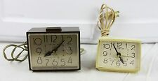 Lot of 2 Vintage Westlox Alarm Clock Brown Drowse Dialite 22196 Cream Bold 22189